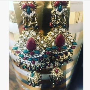 Fashion earrings intricate ruby rhinestone NEW